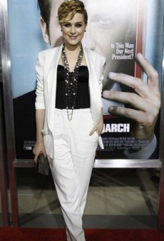 Evan Rachel Wood: Look of the Day – Yves Saint Laurent White Tuxedo