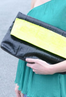 DIY: Neon Stripe Clutch