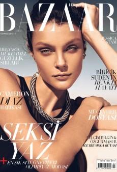 A Bronzed Jessica Stam Covers Harper's Bazaar Turkey's July 2012 Issue (Forum Buzz)