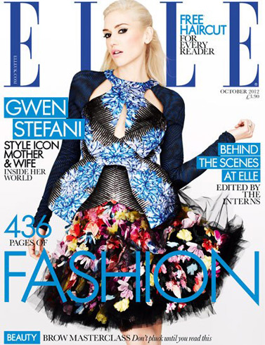 Elle UK October 2012 - Gwen Stefani in Peter Pilotto top and McQ skirt, photographed by Matt Irwin