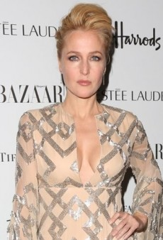 Look of the Day: Gillian Anderson's Graphic Nicholas Oakwell Fall 2012 Couture Dress