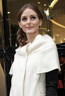 Look of the Day: Olivia Palermo Cuts the Ribbon in Emily D Vegan Leather Leggings and Cobalt Manolos