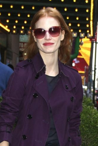 Jessica Chastain outside the Walter Kerr Theatre for her Broadway play The Heiress New York City cropped