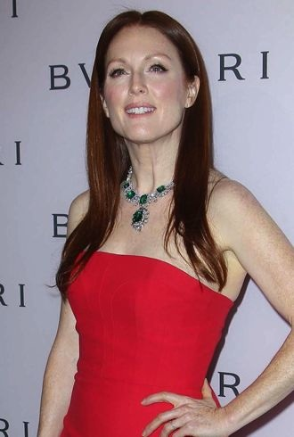 Julianne Moore celebration of Elizabeth Taylors collection of BULGARI jewelry Beverly Hills cropped