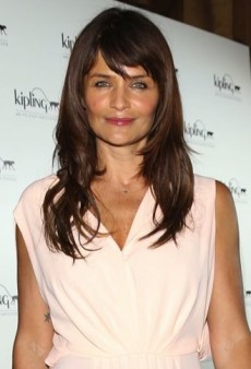 Look of the Day: Helena Christensen Launches Her New Handbag Collection in a Pale Pink Dress