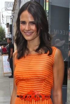 Jordana Brewster Steps Out in Orange Striped Carolina Herrera Maxi Dress