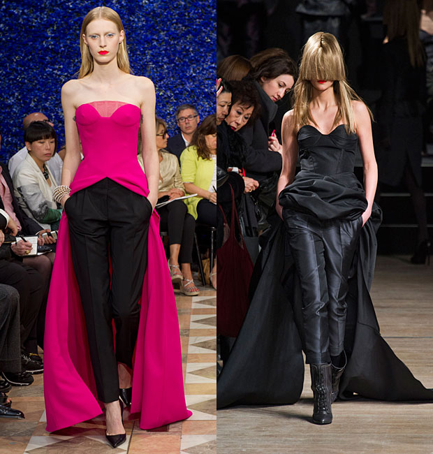Christian Dior Haute Couture Fall 2012 versus A.F. Vandevorst Fall 2013. Images via style.com and IMAXtree.
