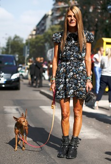 Anna Dello Russo Walks Her Dog Wearing Saint Laurent's $68,000 Babydoll Dress
