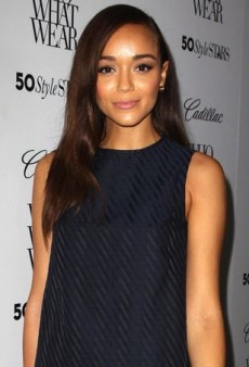 Ashley Madekwe Shows Her Stripes in Theory's Sleek Navy and Black Ensemble