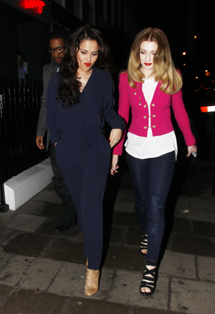 Cheryl Cole and Nicola Roberts of Girls Aloud leave a Central London Restaurant