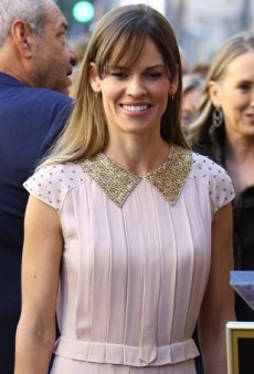 Hilary Swank Shows Her Support in a Pretty Pleated Tory Burch Dress