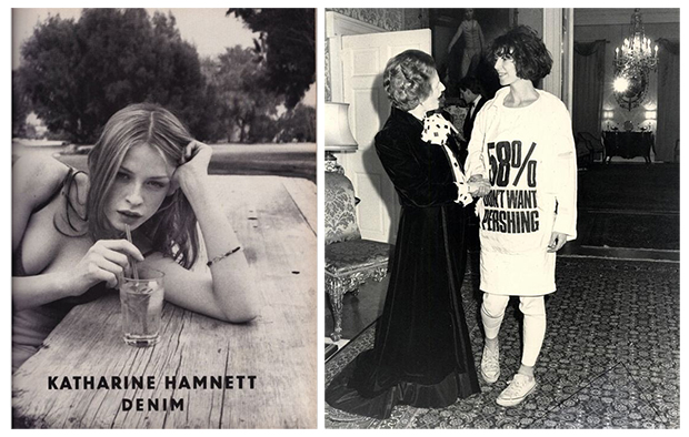 Katharine Hamnett Spring 1997 Campaign by Juergen Teller (left) / Hamnett Meeting Margaret Thatcher (right) — Images: Twitter/LaHamnett