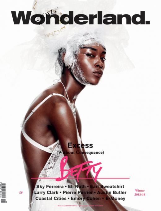 Betty Adewole on the cover of Wonderland Winter 2013