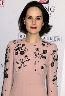 Michelle Dockery Previews Season Four of Downton Abbey in Miu Miu's Pink Embellished Cady Dress