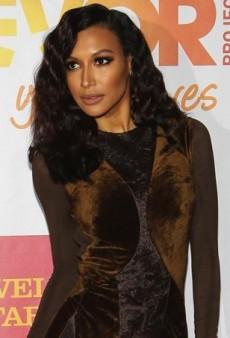 Naya Rivera's Donna Karan Fall 2013 Crushed Velvet Collage Dress