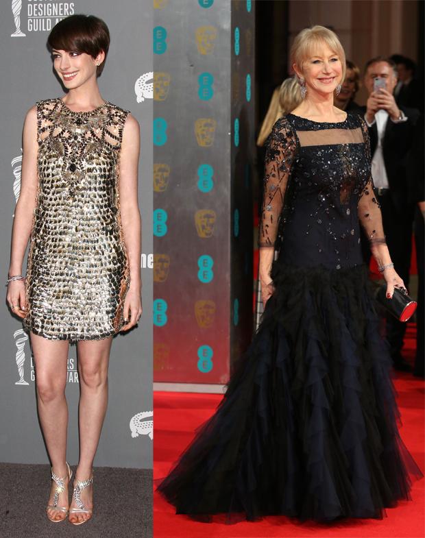 Anne Hathaway, Nikki Nelson/WENN.com; Helen Mirren, Lia Toby/WENN.com