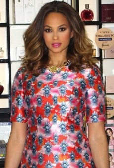 Alesha Dixon Promotes Her Rose Quartz Perfume in a Floral House of Holland Dress
