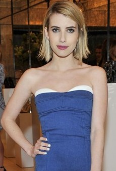Emma Roberts Plays Host in Barbara Bui's Strapless Denim Dress
