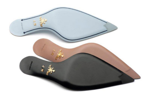 One black, baby blue and nude Prada sole