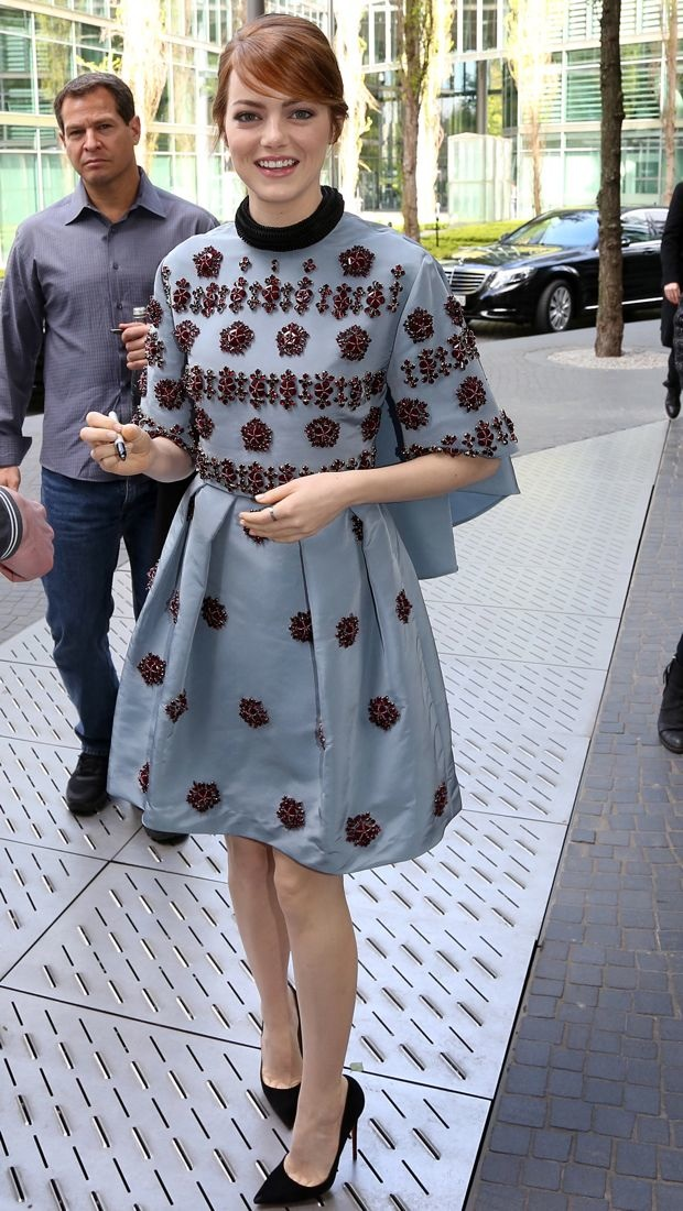 Emma Stone signs autographs in embellished Erdem dress