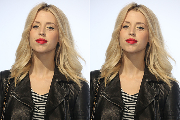 Peaches Geldof with pinup makeup in a leather jacket