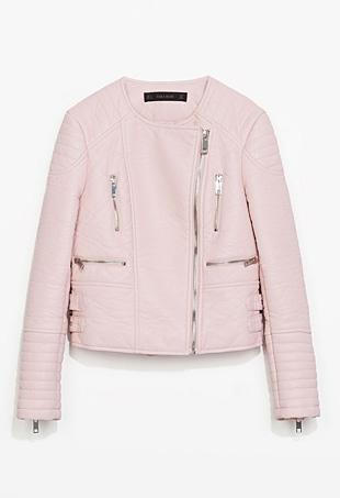 Zara pink leather moto jacket
