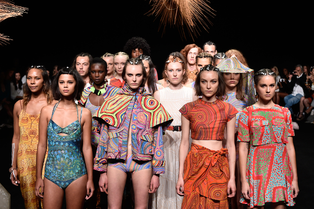 Models walk the runway at the Desert Designs show during Mercedes-Benz Fashion Week Australia 2014
