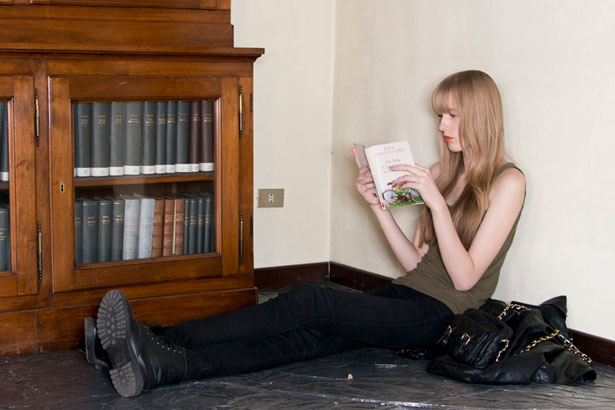 model reading a book