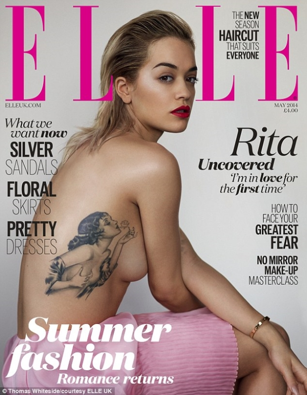 Rita Ora topless on Elle UK