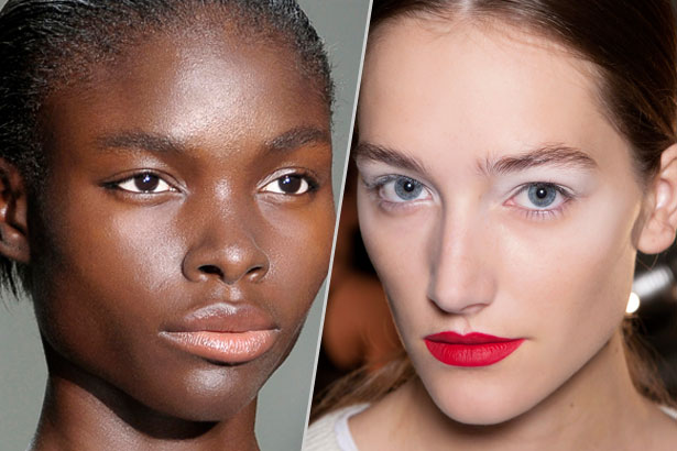 pearlescent white makeup on the spring runways