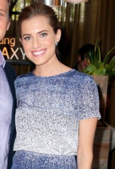 Allison Williams Poses for Pictures at the Variety Studio in a Gradient Blue Nonoo Ensemble