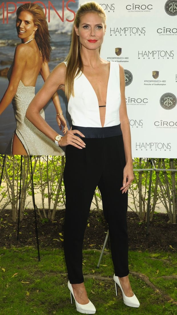 Heidi Klum sports a tricolor jumpsuit at a Hamptons Magazine party