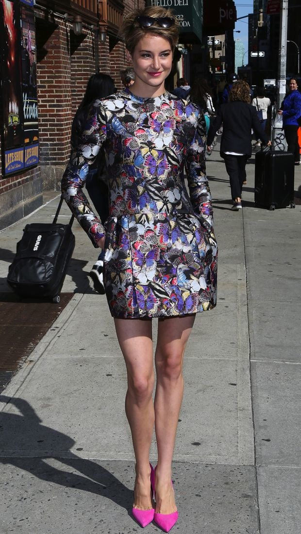 Shailene hit the late night talk show in a Valentino Pre-Fall 2014 butterfly print dress