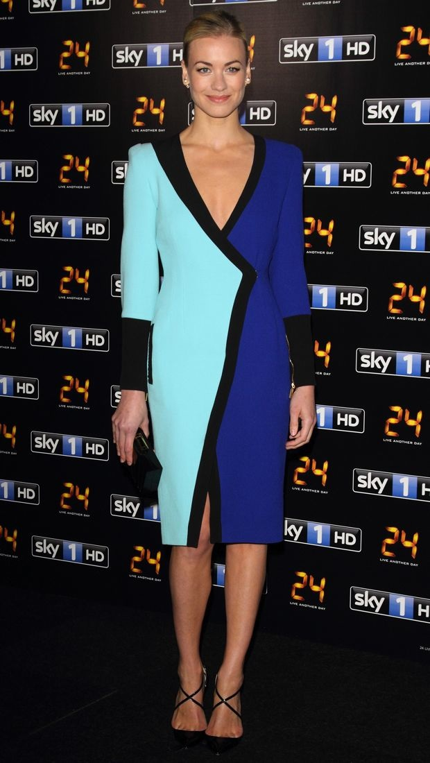 Yvonne attended a premiere in a colorblock Fall 2013 wrap dress