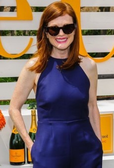 Julianne Moore Gets the Jump on Her Fellow Polo Match Spectators in Rosie Assoulin