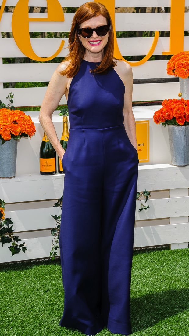 Julianne Moore wears a navy Rosie Assoulin jumpsuit at the Seventh Annual Veuve Clicquot Polo Classic