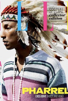 Internet is #NotHappy with the Feathered Headdress Pharrell Wears on the Cover of ELLE UK
