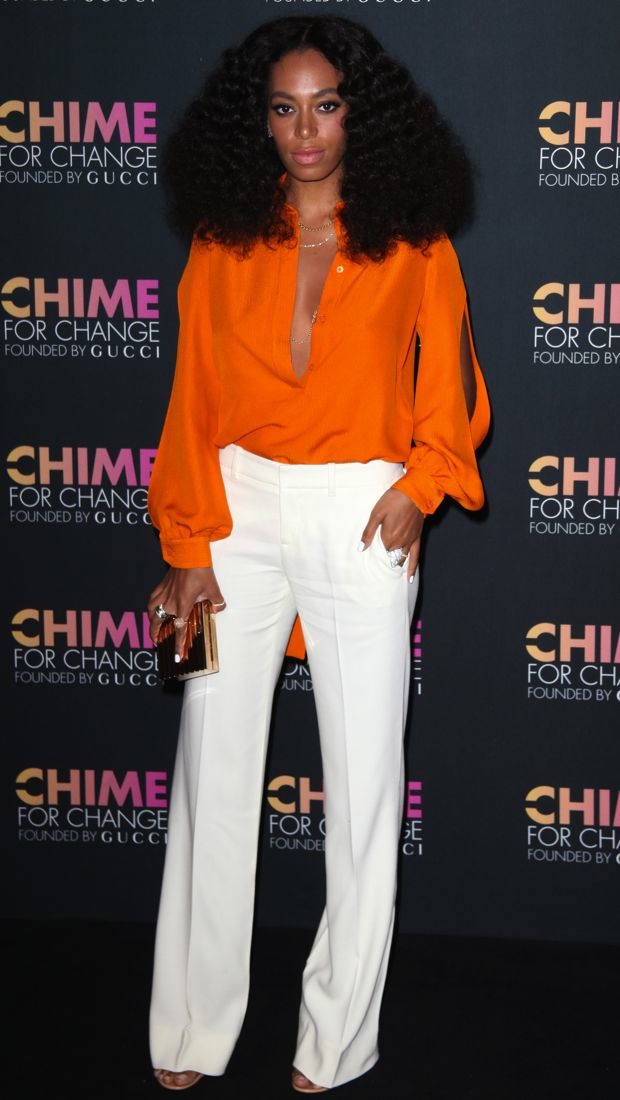 Solange Knowles plays DJ at the Chime for Change one-year anniversary in Gucci