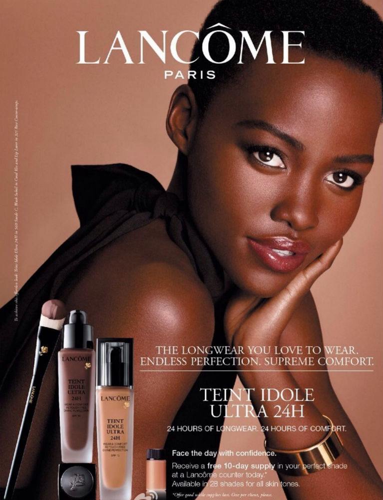 Lupita Nyong'o pictured in Lancome's foundation ad