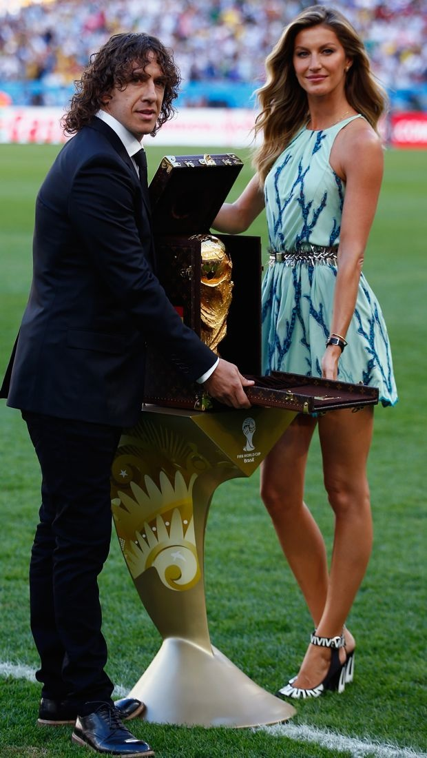 Gisele Bündchen presents the 2014 FIFA World Cup Brazil trophy in Louis Vuitton