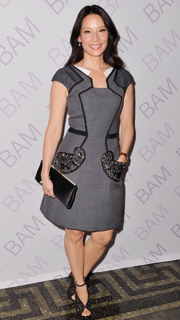 Lucy Liu looked gala-ready in this Andrew Gn Pre-Fall 2014 dress