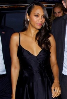 Zoe Saldana Covers Up Her Baby Bump in Lanvin