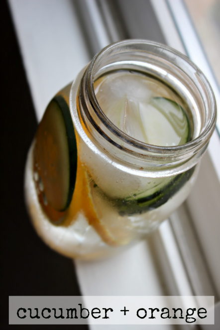 cucumber orange water mason jar