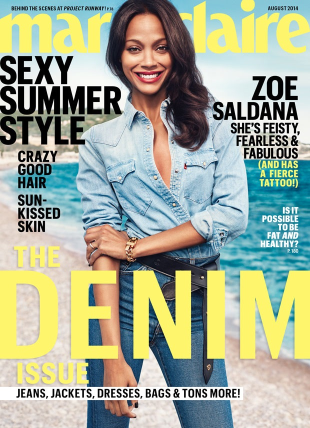 Zoe Saldana Doubles Up On Denim for Marie Claire's August Issue (Forum Buzz)