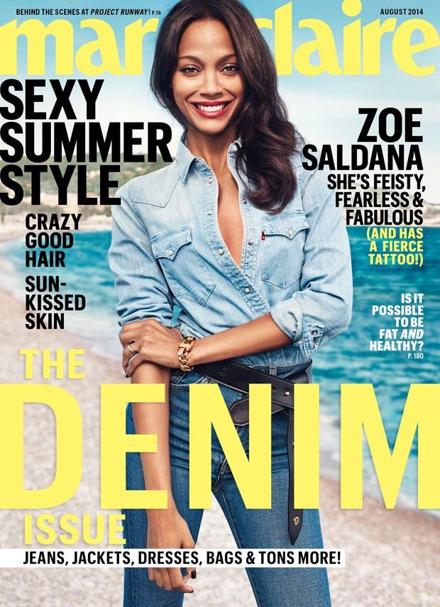 US Marie Claire August 2014 Zoe Salanda Boe Marion
