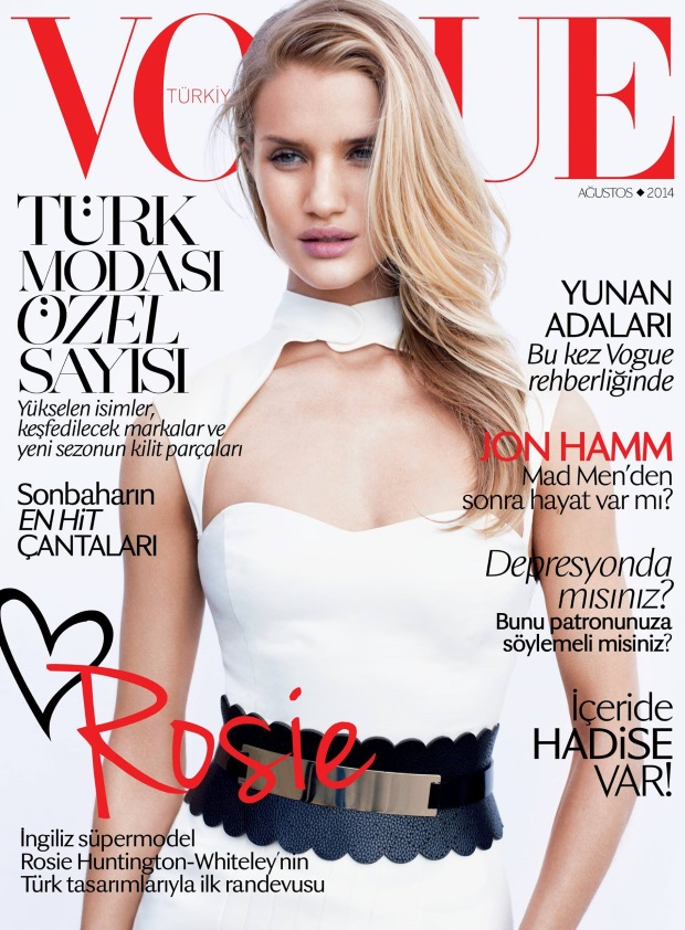 Vogue Turkey August 2014 Rosie Huntington-Whiteley Horst Diekgerdes