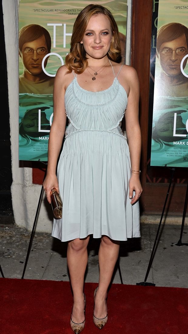 Elisabeth Moss wears a delicate pale Chloe dress