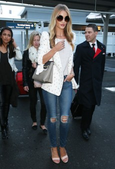 Rosie Huntington-Whiteley Lands in Sydney Rocking Smart Casual