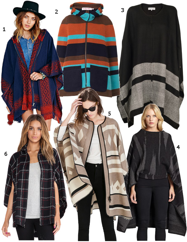 1. Ecote Blanket Poncho Jacket - $79;  2. See by Chloe Blanket Stripe Cape - $853.95;  3. Apiece Apart Katz Stripe Weave Poncho - $420;  4. DKNY Wool Blanket Cape - $495;  5. Zara Poncho Coat - $249;  6. BCBGeneration Hooded Cape - $188;