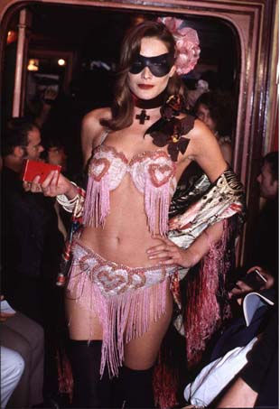 Carla Bruni models for Jean Paul Gaultier's S/S 1997 collection.